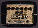 This is the Electro-Harmonix Germanium 4 Big Muff Pi. This version of EH's classic Big Muff circuit features 4 Germanium transistors powering separate overdrive and distortion sections that can be used independently, or stacked for a whole new dimension of Muff tone combinations. Each side of the Electro-Harmonix Germanium 4 Big Muff Pi has it's own set of controls with the usual gain and volume, as well as independent bias controls for a wide array of dirty textures. A voltage knob on the distortion side enhances flexibility even further, letting you imitate the compressed,voltage-starved tone of a Big Muff with a dying battery. The Electro-Harmonix Germanium 4 Big Muff Pi is made in NYC, USA and features True Bypass switching all the way around.