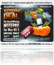 Music Software : IUseMac Spring Deal: 50% OFF Coupon for Notepad for Mac - macmusic